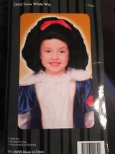 DISNEY SNOW WHITE GIRLS BLACK WIG RED RIBBON NEW PRINCESS FAIRY TALE
