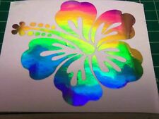 """1026  HOLOGRAPHIC HIBISCUS FLOWER DECAL 4-1/4"""" X 4-1/4"""""""