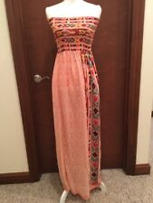 Women's Angie Aztec Coral Strapless Dress Size Large New