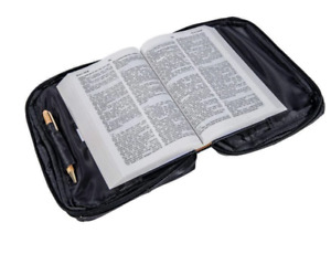 Black Genuine Leather Bible Book Cover Zippered Bag Organizer Case New