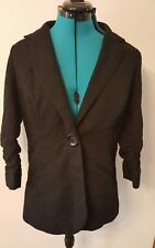 anthracite black blazer size 10 big button runched sleeves