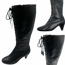 Clarks Millie Size 5 38 Long Black Leather Victorian Boots Goth SteamPunk Womens