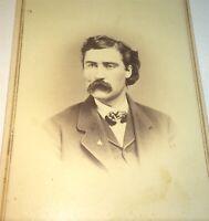 Antique Victorian American Mustached Man, Masonic Pin! Pennsylvania CDV Photo!