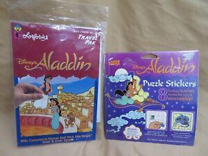 New Vintage Disney Aladdin Lot ~ Colorforms & Mello Smello & Puzzle Stickers Set