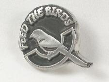 Feed the birds,  English Pewter  Pin Brooch / Badge