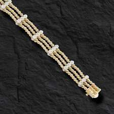 "14k Solid Yellow Gold Handmade Link Men's Bracelet 8"" with .75 TCW  30 Gr   9.MM"