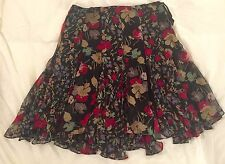 Ralph Lauren Black Floral Print Pleated Mid Skirt Size 6 / $125.00