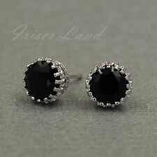 18K White Gold Plated Black Cubic Zirconia CZ Wedding Crown Stud earrings 08127