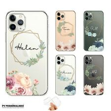PERSONALISED PHONE CASE FLORAL INITIALS NAME SOFT COVER APPLE IPHONE 7 8 XR 11
