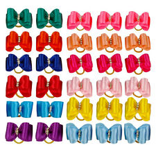 50pcs/lot Cute Rhinestone Pet Cat Dog Hair Bows Grooming Accessories for Yorkie