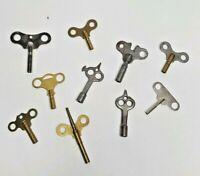 Antique Vtg Clock Keys Winding Brass Steel Drum Butterfly Double Single End   3