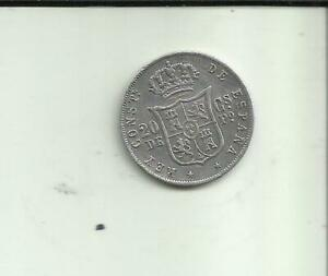 SPAIN COLONIAL PHILIPPINES 20 PESO CENTS 1885 ALFONSO XII. SILVER. 8RW 09SET