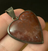 TAXCO MEXICO EAGLE 3 STERLING SILVER MIGUEL CARVED HEART PENDANT