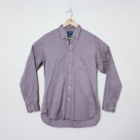 T M Lewin Mens Size M Medium Brown Long Sleeve Button Up Shirt Business Casual