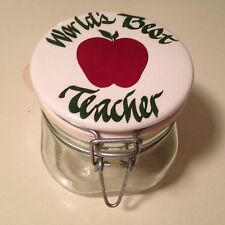 """World's Best Teacher"" Ceramic Top, Reclosable 1/2 L Canister, Made in Italy"