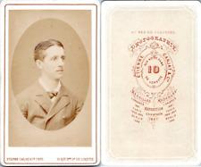 CDV, Carjat, Paris, Portrait de jeune homme, circa 1870 Vintage CDV albumen cart