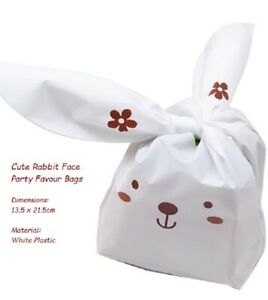 CHILDRENS PARTY SUPPLIES 20 x Cute Rabbit Face Plastic Party Favour Bags