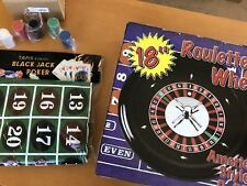 "18"" Professionally Balanced Roulette Wheel & Felt Set-Up Kit  with 100 Chips"