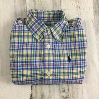 Ralph Lauren Polo Blue Plaid Long Sleeve Dress Collar Shirt Baby Boys Sz 24 M