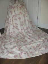 LARGE QUALITY CURTAINS VINTAGE STYLE DAISY PRINT COTTON FABRIC CREAM & PINK