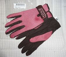 -MOXIE Air-Puff Riding Gloves - HOT PINK - Brown/Almost Black Trim - Small - NEW