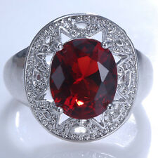 Fashion Jewelry 925 Silver Ruby Women Wedding Engagement Ring Size 6-10
