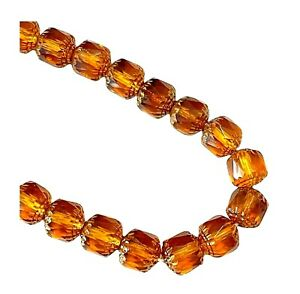 20 Preciosa Czech Glass 10mm Faceted Topaz with Silver Cathedral Rosary Beads