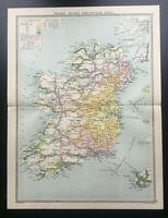 Antique Map Of Ireland Railways Time Distance 1930  George Philip