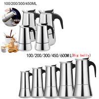 Stainless Steel Moka Espresso Coffee 2/4/6/9/12cup Stovetop Percolator Maker Pot