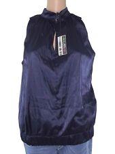 maglia blusa donna blu raso stretch senza maniche made italy taglia l large