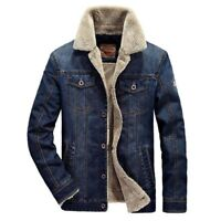 Winter Mens Jeans Jacket Warm Lambswool Cowboy Coats Jacket Thick Denim Outwear