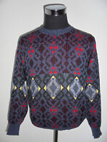 vintage sweater cosby crazy pattern hip hop 80s strickpulli opa oldschool M/L