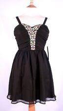 Womens Girls Black Bead Mini Party Cocktail Dress,Size 6 UK,S,As U Wish,Chiffon