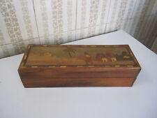 Vintage, boite marqueterie de bois