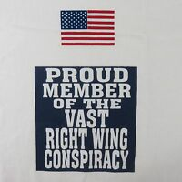 Vintage 80s Tshirt L Flag Right Wing Conspiracy White Red Blue Republican