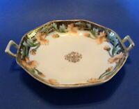 Nippon Noritake Octagonal Bowl With Handles - Hand Painted Orange Flowers Japan