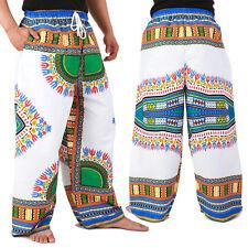 Dashiki African Pants Cotton Aladdin Yoga Harem Unisex BOHO White ap03ws