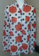 MINKPINK Womens Size Small Rose Polka Dot Retro Semi Sheer Button Front Blouse