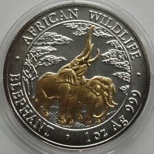 ORIGINAL ZAMBIA 2003 5000 KWACHA  ELEPHANT 1 Oz 999 SILBER SILVER  GILDED RARE!!