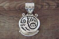 Navajo Jewelry Sterling Silver Petroglyph Shield Pendant - A. Mariano
