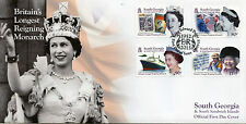 South Georgia & Sandwich Isl 2015 FDC Queen Elizabeth II Reign 4v Cover Stamps