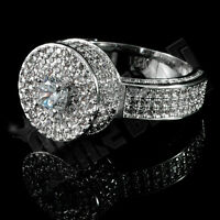 18K White Gold Plated ICED OUT Simulated Diamond Silver MICROPAVE Mens Ring
