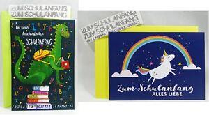"""Postkarte""""Zum Schulanfang/Einschulung Einhorn/Drache+Umschlag+Sticker Grußkarte"""