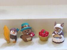 1994 Hallmark Merry Miniatures Thanksgiving Lot of 4 Apples Beaver Chickadee