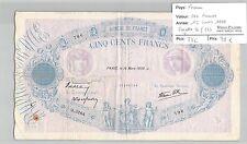 BILLET FRANCE - 500 FRANCS - 16 MARS 1939