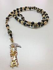 Handmade Holy Death Bk Rosary Sinaloense Buchon Santa Muerte Oro Laminado
