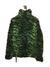 kenzo hm fur pullover sweater jacket size small green tiger print