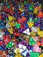 (5) HDDice D4 Random Color Pearl Solid Translucent Polyhedral Dice Lot 4 Sided