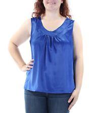 KASPER Womens Blue Scoop Neck Casual Top Plus Size: 1X