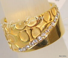 Coach  Handbag  Stone Rings Ring Gold Clear   Enamel NWT Sz 7  96860 F96860
